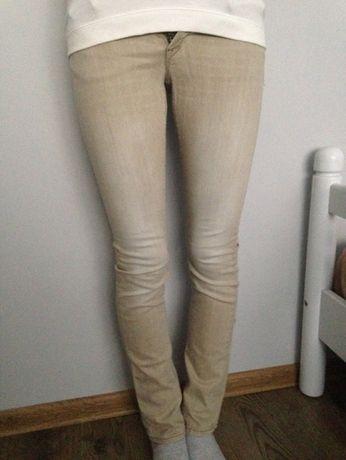 Spodnie rurki jasne bezowe H&M hm jeans jeansy 12 13 lat 158
