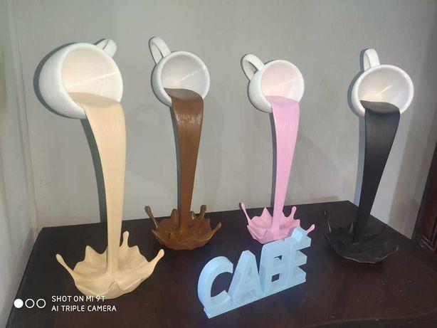 Decoração chávenas de café 3D