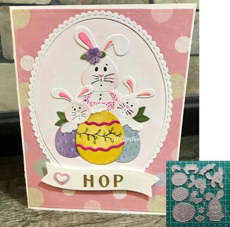 Wzornik wykrojnik scrapbooking Wielkanoc pisanka zając królik