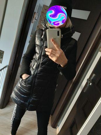 Kurtka czarna pikowana s ciepła zimowa płaszczyk dłuższa super model