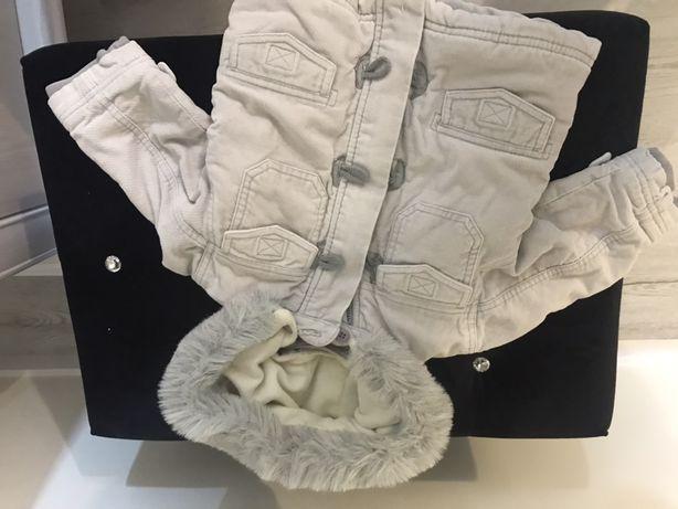 Kurtka kurteczka zimowa z futerkiem r. 74-80
