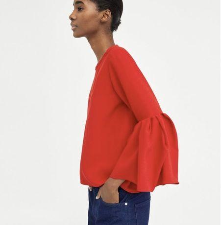 Bluzka czerwona oryginalna markowa szeroki rekaw święta