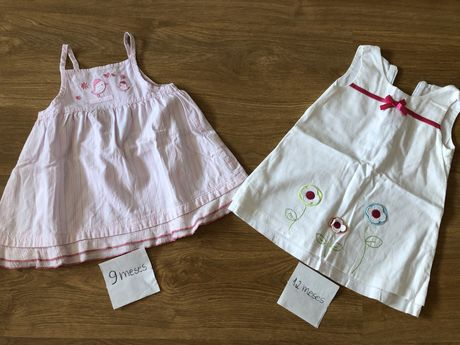 Conjunto vestidos menina 9 e 12 meses como novos