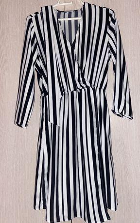 Kopertowa sukienka w paski// Mohito