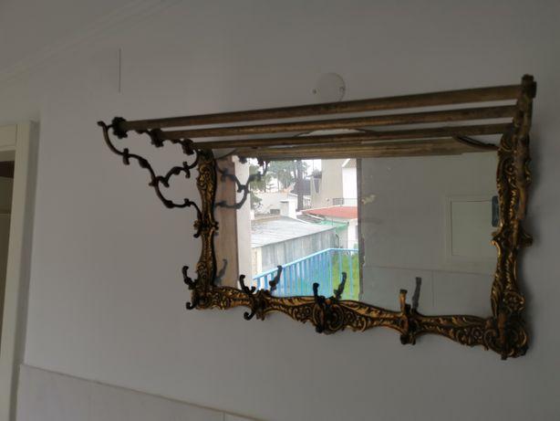 Cabide de Entrada em Latão com Espelho