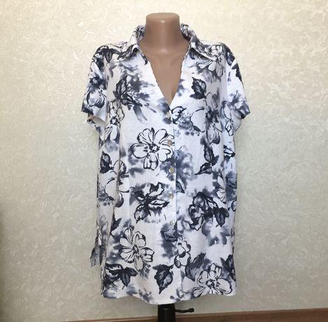 Льняная блуза лен рубашка большой размер / пог 62