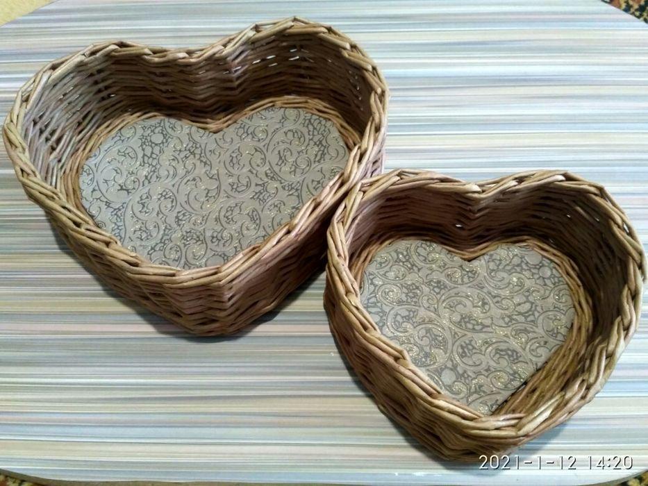 Корзинки сердечки из бумажной лозы Кременчуг - изображение 1