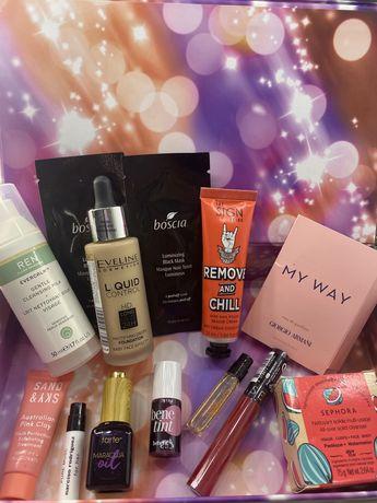 Zestaw nowych kosmetykow Sephora 13 szt Tarte,Benefit,Armani