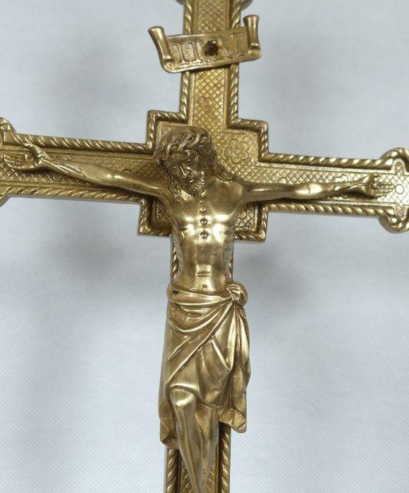 Ołtarzowy KRUCYFIKS krzyż Jezus mosiądz 53,5 cm Łapy - image 1