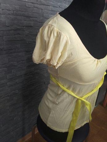 Letnia bluzka w białe i żółte paski