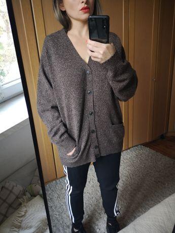 Uniqlo brązowy sweter kardigan z kieszeniami wełna wełniany męski uni