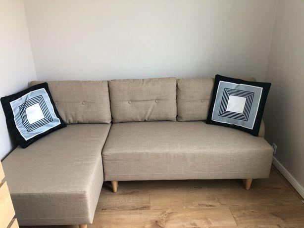Bastubo Ikea, Beżowa, rozkładana sofa 3-osobowa z leżanką, lewa