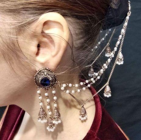 Свадебные серьги с цепочкой украшение в волосы джумки