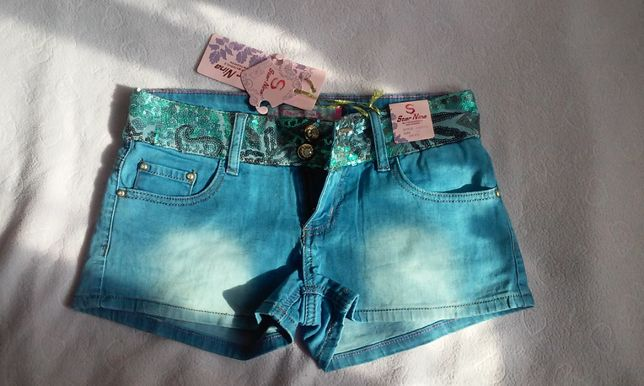 Spodenki szorty jeansowe s m z cekinami i diamencikami