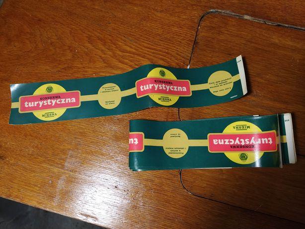 Konserwa turystyczna nowa etykieta prl antyk