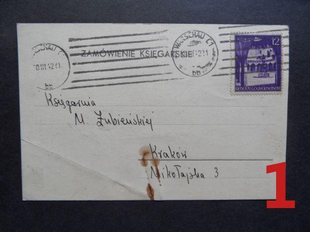 GG kartka pocztowa formularz 1942 rok znaczki pocztowe kasownik