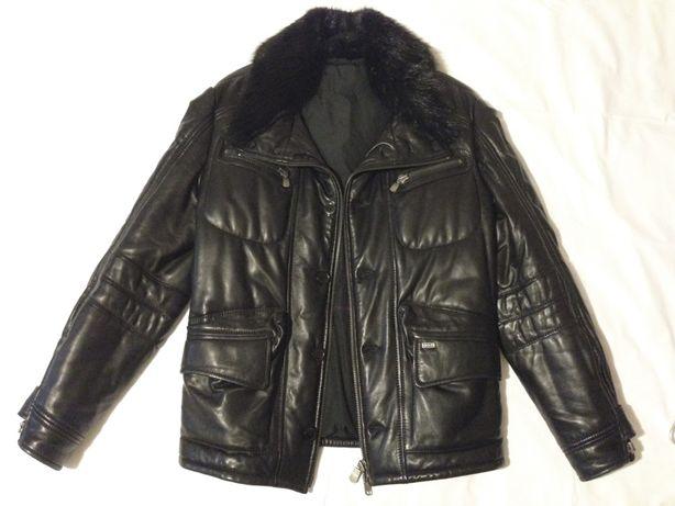 Куртка кожаная Emilio Mazzini зимняя утепленная мех нутрия