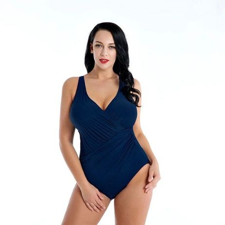 Купальник женский слитный синий, на большую грудь