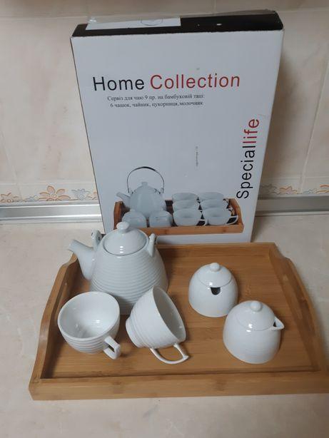 Фарфоровый сервиз для чая на бамбуковом подносе