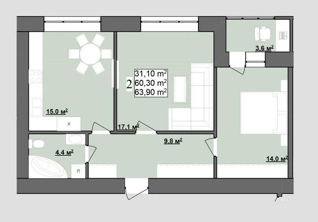 24 500$ 2кім квартира в районі Каскад всього
