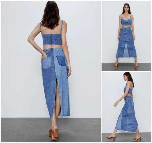 Джинсовая юбка длинная с вырезом zara