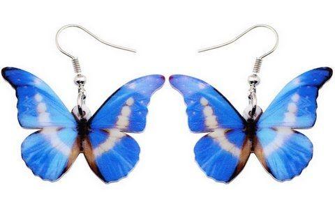 Kolczyki motyl, motyle - motyl niebieski 2