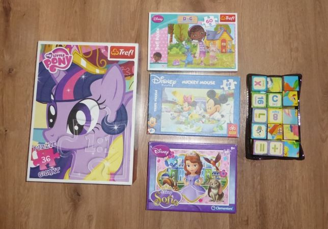 BAJKOWE puzzle 3-5 lat TREFL, My Little Pony, Scooby Doo, Mickey Mouse