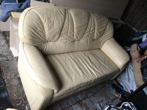 Komplet wypoczynkowy skora kanapa rozkładana 2 fotele