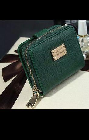 Зелёный кошелек фурнитура золото