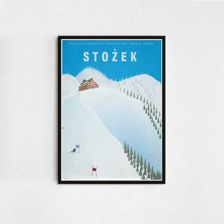 Stożek - Grafika Plakat Beskidy Narty Polskie Schroniska Turystyczne