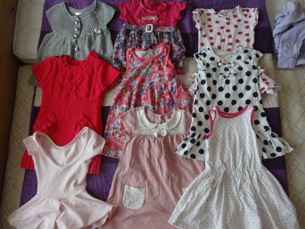 Zestaw sukienek dla dziewczynki rozm 92 - 98 9 sztuk