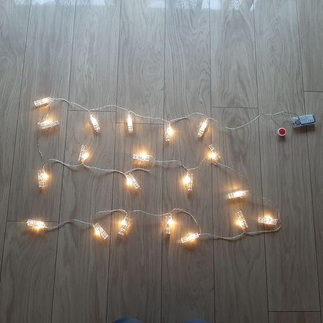 Świecące klamerki - łańcuch 20 sztuk