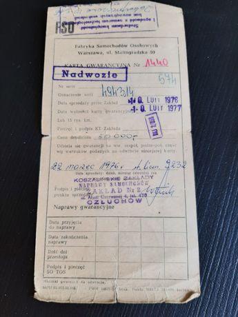 Karta gwarancyjna + zaświadczenie Fiat 126p
