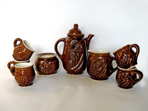 Сервиз керамика коричневый - для кофе - как новый,подарок