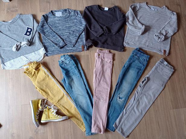 Paka zestaw jeansy zara hm kapphal bluza 10/116 trampki