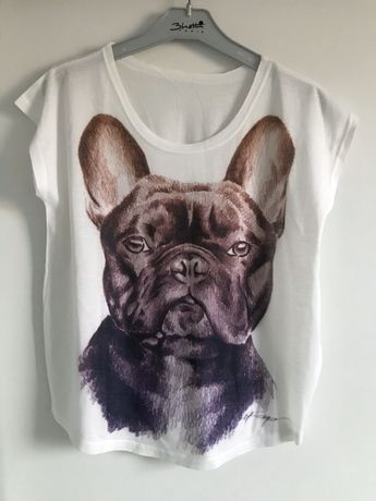 Tshirt buldog francuski bluzka damska prezent S