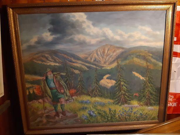 Stary przedwojenny niemiecki ,ogromny  obraz Karkonosz