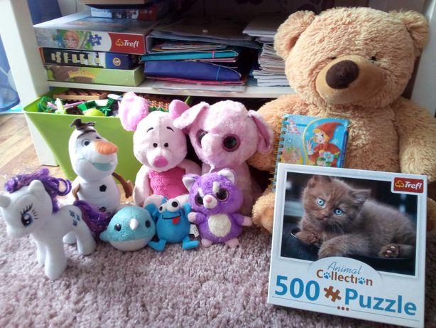 zabawki dla dziewczynki miś , olaf,kucyk pony i puzle 500sztuk