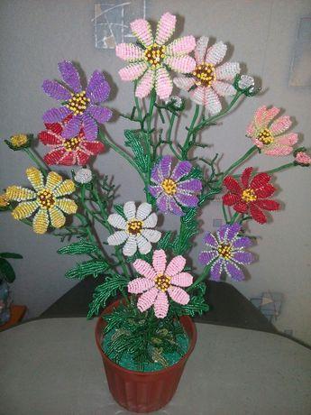 Цветы с бисера. Космея.