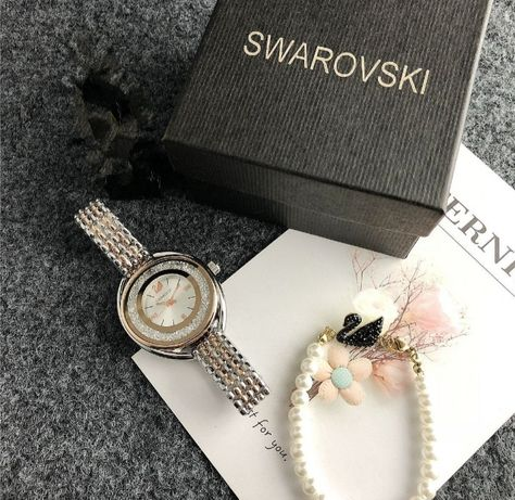 Swarovski zegarek z bransoletką zestaw podarunkowy dla kobiety