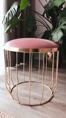 Pufa fotel pufka złoto złota różowa