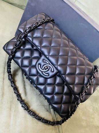 Luksusowa czarna torebka skórzana Nowa