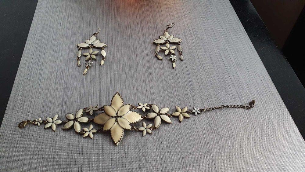 Komplet kolczyki bransoletka H&M kwiaty Zawiercie - image 1