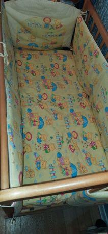 Продам постельное белье для детской кроватки с защитой и балдахином