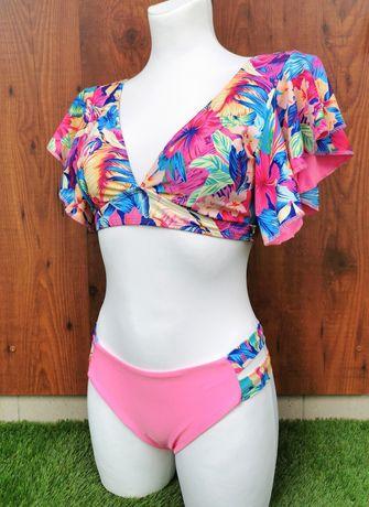 Kostium kąpielowy bikini S - różowy pastelowy w kwiaty falbanki