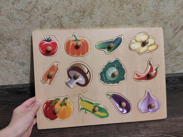"""Большой деревянный пазл - вкладыш """"Овощи"""""""