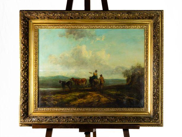 Pintura de pastor e gado Escola de Barbizon - século XIX