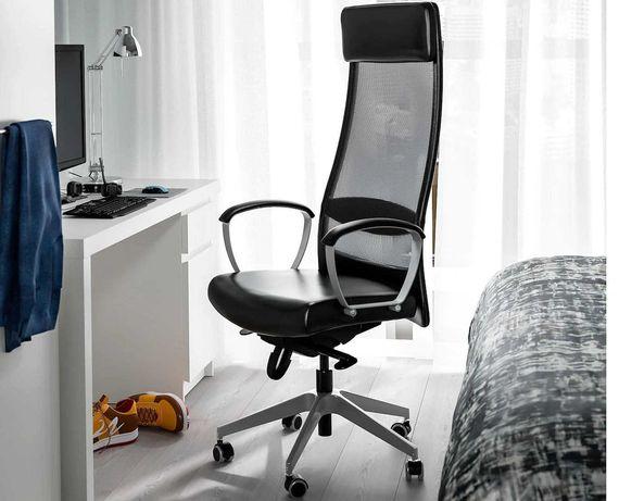 SKÓRZANY czarny fotel krzesło obrotowe biurowe ikea Markus