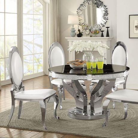 Stół glamour Davson 130cm okrągły stal srebrna blat kamienny