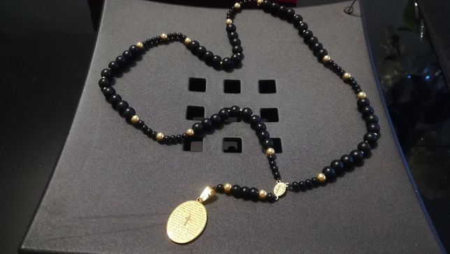 Różaniec naszyjnik męski onyks złoto biżuteria prezent